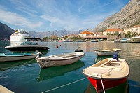 Europe, Montenegro, Kotor Old Town, Cruise Ship and Harbour Boats