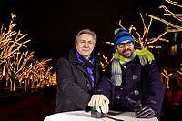 The comedian Kurt Kroemer and Klaus Wowereit, mayor of Berlin switches on the Christmas mood at Unter den Linden in Berlin