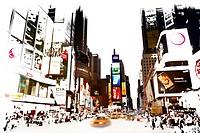 Der Times Square in New York City liegt an der Kreuzung Broadway und Seventh Avenue. Er wurde nach dem von der New York Times benutzten Gebäude T.S.1 ...