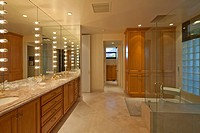 Interior of spacious bathroom with spa