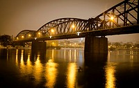 evening winter shot, Railway Bridge b. 1901 across Vltava river, Vysehrad, Prague, Czech Republic