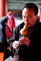 BEIJING_MARCH 15:Chinese man play music at the temple of heaven park on Mar 15 2009 in Beijing, China It´s the most popular park in Beijing used by th...