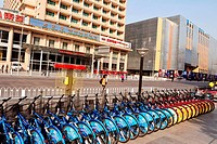 BEIJING _ MARCH 11: A line of lot rental bike on March 11 2009 in Beijing,China There are over a half billion bicycles in China Photo by NEWSCOM OUT