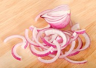 The red fresh onions close up