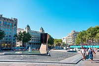 BARCELONA, SPAIN _ JULY 19: Macia Monument in Plaza Cataluna on July 19, 2012 in Barcelona, Spain. This monument designed by Subirachs in honor of pre...