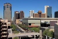 Downtown Phoenix skyline from East Washington street  Arizona  USA