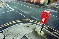 tyoical red english letterbox in Penny Lane, Liverpool, UK
