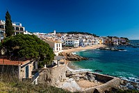 Panoramic view of Calella de Palafrugell, Costa Brava, Catalonia, Spain