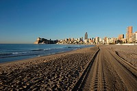 Tire tracks on sand beach, Poniente beach, Benidorm,Alicante,Spain