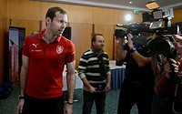 Meeting of the Czech national soccer team with media prior to the match against Denmark in Prague, Czech Republic on Tuesday 19, 2013. Petr Cech. (CTK...