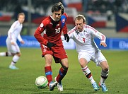 Danish player Michael Krohn-Dehli (right) and Czech Republic's player Tomas Rosicky fight for the ball in their 2014 World Cup qualifying soccer match...