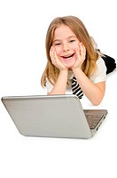 Cute girl with laptop on white
