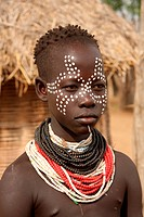 Ethiopia, Africa, South Ethiopia, boy, tribe, minority, minority group, ethnology, ethnologic, ethnic, native, Karo, portrait, Omo valley, Omo river v...