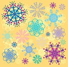 abstract vanilla background with coloured snowflakes