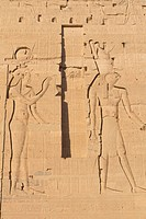 Carving of Egyptian god on pylon (Island Philae, Egypt)