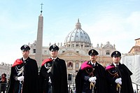 14 Feb 2013 police in uniform by Saint Peter´s Square, Rome the day after the election of Pope Francis