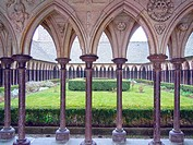 Abbey cloister,Mont Saint Michel, Normandy, Bretagne, France
