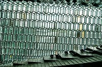 interior of the Harpa Concert Hall in Reykjavik, Iceland