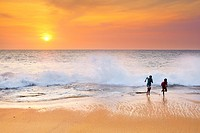 Sri Lanka - boys on the Koggala beach, south part of Sri Lanka, Indian Ocean coast, Asia