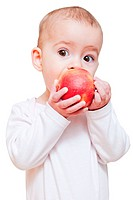 Baby girl eating healthy food isolated