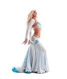 Sexy blond woman dance in oriental costume