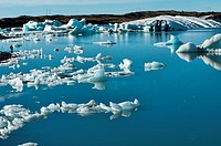 The iceberg lagoon at Jokulsarlon in Vatnajokull National Park, Iceland
