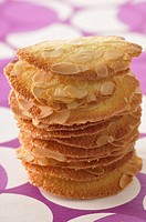 Thinly sliced almond tuiles
