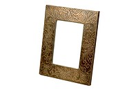 Emboss white metal design fitting on wooden photo frame ; Jodhpur ; Rajasthan ; India
