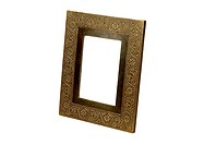Emboss brass design fitting on wooden photo frame ; Jodhpur ; Rajasthan ; India