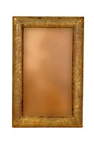 Brass design fitting on antique wooden photo frame ; Jodhpur ; Rajasthan ; India