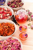 Herbal natural floral tea infusion with dry flower