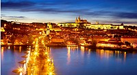 Prague, Hradcany - Old Town, view at Charles Bridge, Vitus Cathedral and the Castle District by night, Prague, Czech Republic