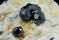 Bottino Mine, Stazzema, Apuan Alps, Lucca Province, Tuscany, ItalyArea of 23.74 mm with two fantastic groups of Sphalerite crystals with yellow Sideri...