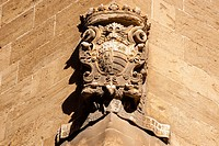 family coat of Ramon Saforteza i Pacs-Fuster, known as Conde Mal, Can Formiguera palace, portella Street, Historic-Artistic, Palma, Mallorca, Balearic...