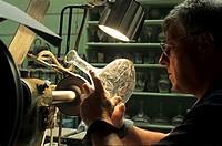 cutting crystal carafes, Hartzviller Crystalworks, Moselle department, Lorraine region, France, Europe