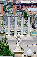 Montjuic columns and fountain on Plaza de Espana in Barcelona Spain