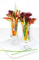2 Vegetable salads in glass