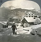 SWITZERLAND: GRINDELWALD, 'A winter morning in the lovely valley of Grindelwald, Switzerland.' Stereograph, early 20th century.