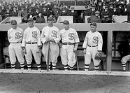 CHICAGO WHITE SOX, 1917. Chicago White Sox players Eddie Murphy, John 'Shano' Collins, Shoeless Joe Jackson, Happy Felsch, and Nemo Leibold at 1917 Wo...