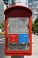 Red emergency phone for Police and Fire Department, New York City, New York, USA, PublicGround