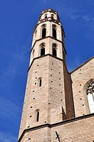 Santa Maria del Mar tower, restored church, Ciutat Vella, Barcelona, Catalonia, Spain