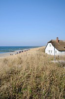 Thatched-roof house at the beach, Ahrenshoop seaside resort, Mecklenburg-Western Pomerania, Germany, Europe