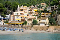 Houses on the beach of Camp de Mar, Majorca, Spain, Europe