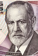 Sigmund Freud (1856-1939) on 50 Shilling 1986 Banknote from Austria. Austrian neurologist who founded the discipline of psychoanalysis.