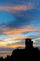 Watchtower, Torre de Ses Animes at Sunset, Majorca, Balearic Islands, Spain, Europe