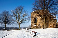The Kings Tower at Knaresborough Castle in the Snow Knaresborough Yorkshire England