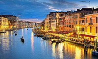 Venice - Grand Canal (Canal Grande), night view from the Rialto Bridge, Venice, Italy, UNESCO