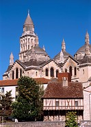 Perigueux, Aquitaine, France. Cathedrale St Front. (11th-12thC, remodelled late 19thC) seen from across the River Isle.