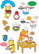sticker template featuring animals baking