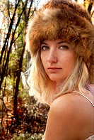Young Woman Wearing Fur Hat, Portrait